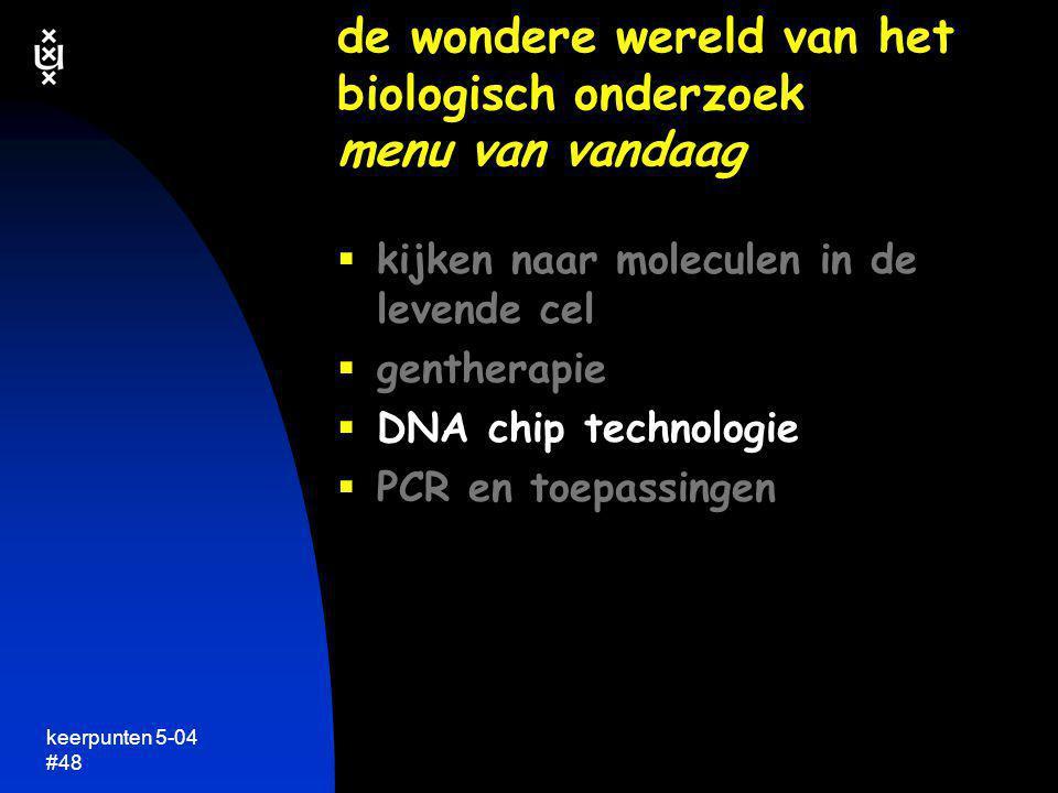 keerpunten 5-04 #48  kijken naar moleculen in de levende cel  gentherapie  DNA chip technologie  PCR en toepassingen de wondere wereld van het bio