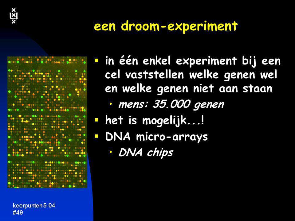 keerpunten 5-04 #49 een droom-experiment  in één enkel experiment bij een cel vaststellen welke genen wel en welke genen niet aan staan •mens: 35.000
