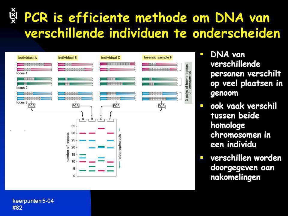 keerpunten 5-04 #82 PCR is efficiente methode om DNA van verschillende individuen te onderscheiden  DNA van verschillende personen verschilt op veel