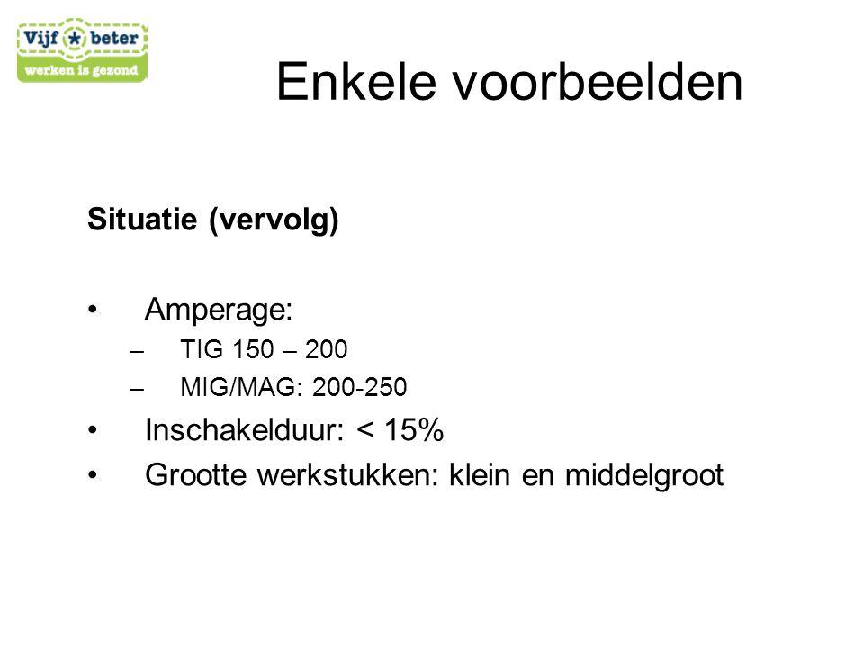 Situatie (vervolg) •A•Amperage: –T–TIG 150 – 200 –M–MIG/MAG: 200-250 •I•Inschakelduur: < 15% •G•Grootte werkstukken: klein en middelgroot