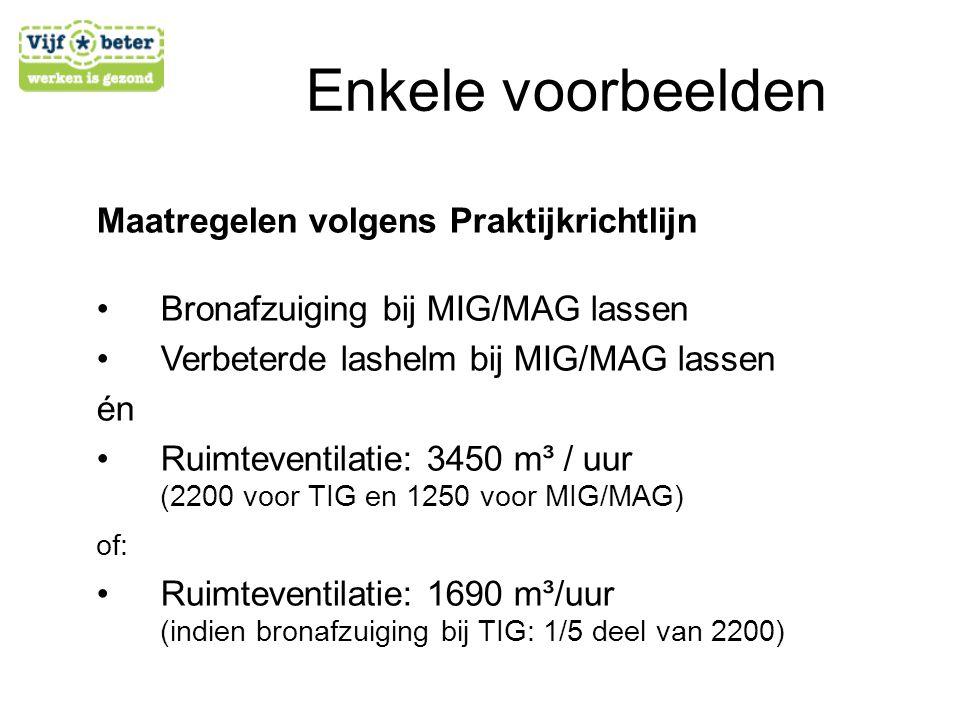 Maatregelen volgens Praktijkrichtlijn •B•Bronafzuiging bij MIG/MAG lassen •V•Verbeterde lashelm bij MIG/MAG lassen én •R•Ruimteventilatie: 3450 m³ / u