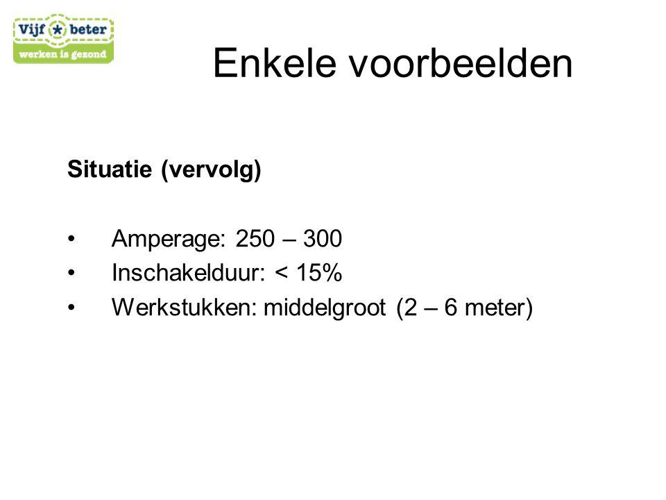 Situatie (vervolg) •A•Amperage: 250 – 300 •I•Inschakelduur: < 15% •W•Werkstukken: middelgroot (2 – 6 meter)
