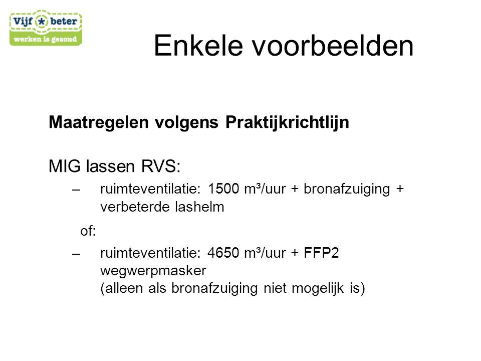 Maatregelen volgens Praktijkrichtlijn MIG lassen RVS: –r–ruimteventilatie: 1500 m³/uur + bronafzuiging + verbeterde lashelm of: –r–ruimteventilatie: 4