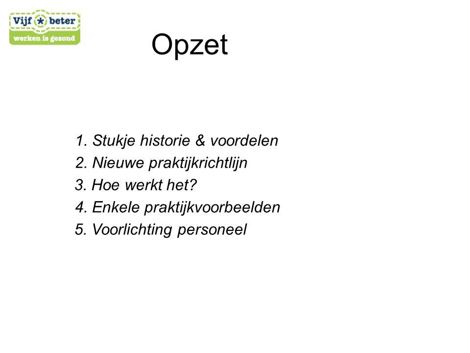Opzet 1. Stukje historie & voordelen 2. Nieuwe praktijkrichtlijn 3. Hoe werkt het? 4. Enkele praktijkvoorbeelden 5. Voorlichting personeel