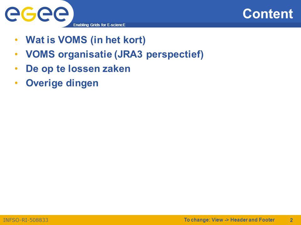 Enabling Grids for E-sciencE INFSO-RI-508833 To change: View -> Header and Footer 2 Content •Wat is VOMS (in het kort) •VOMS organisatie (JRA3 perspectief) •De op te lossen zaken •Overige dingen