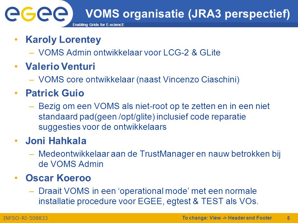 Enabling Grids for E-sciencE INFSO-RI-508833 To change: View -> Header and Footer 5 VOMS organisatie (JRA3 perspectief) •Karoly Lorentey –VOMS Admin o