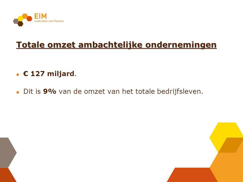 Totale omzet ambachtelijke ondernemingen € 127 miljard. Dit is 9% van de omzet van het totale bedrijfsleven.