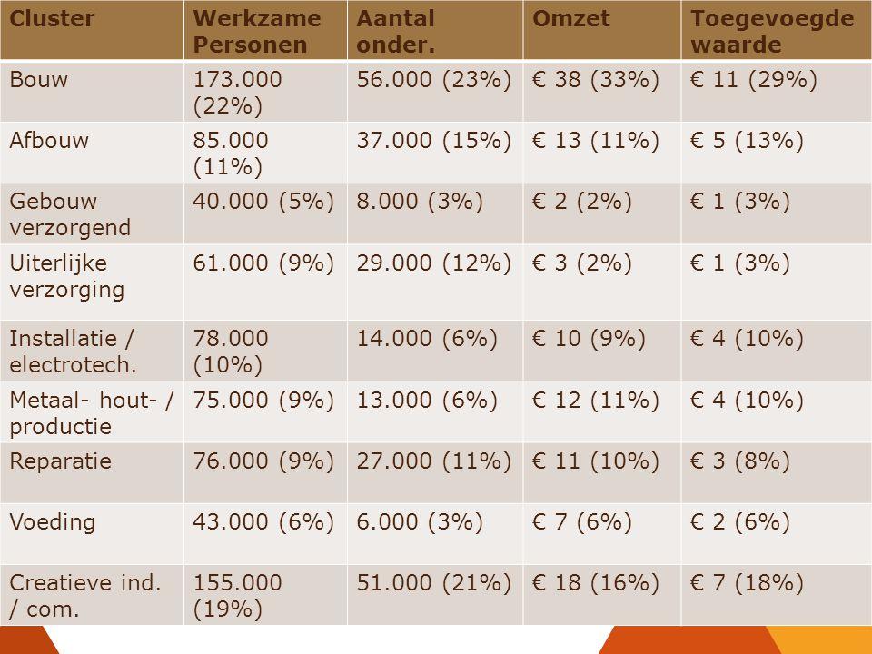 ClusterWerkzame Personen Aantal onder. OmzetToegevoegde waarde Bouw173.000 (22%) 56.000 (23%)€ 38 (33%)€ 11 (29%) Afbouw85.000 (11%) 37.000 (15%)€ 13