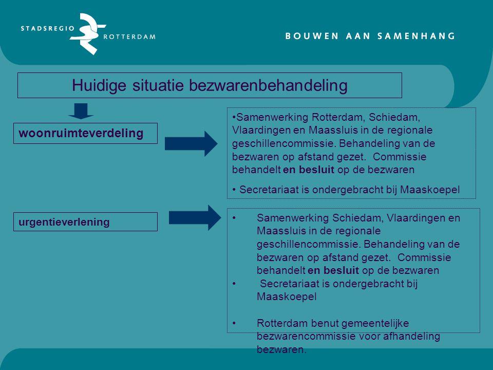 Huidige situatie bezwarenbehandeling woonruimteverdeling urgentieverlening •Samenwerking Rotterdam, Schiedam, Vlaardingen en Maassluis in de regionale
