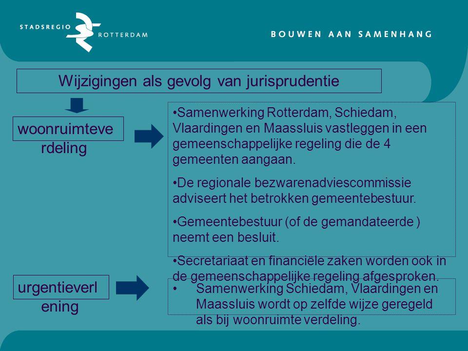 Wijzigingen als gevolg van jurisprudentie woonruimteve rdeling urgentieverl ening •Samenwerking Rotterdam, Schiedam, Vlaardingen en Maassluis vastlegg