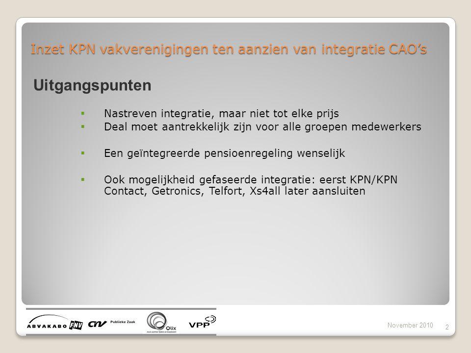 Inzet KPN vakverenigingen ten aanzien van integratie CAO's November 2010 2 Uitgangspunten  Nastreven integratie, maar niet tot elke prijs  Deal moet