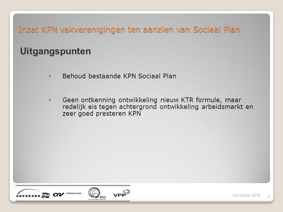Inzet KPN vakverenigingen ten aanzien van Sociaal Plan November 2010 4 Uitgangspunten  Behoud bestaande KPN Sociaal Plan  Geen ontkenning ontwikkeli