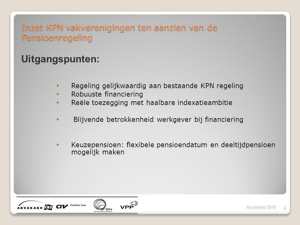 Inzet KPN vakverenigingen ten aanzien van de Pensioenregeling November 2010 6 Uitgangspunten:  Regeling gelijkwaardig aan bestaande KPN regeling  Ro