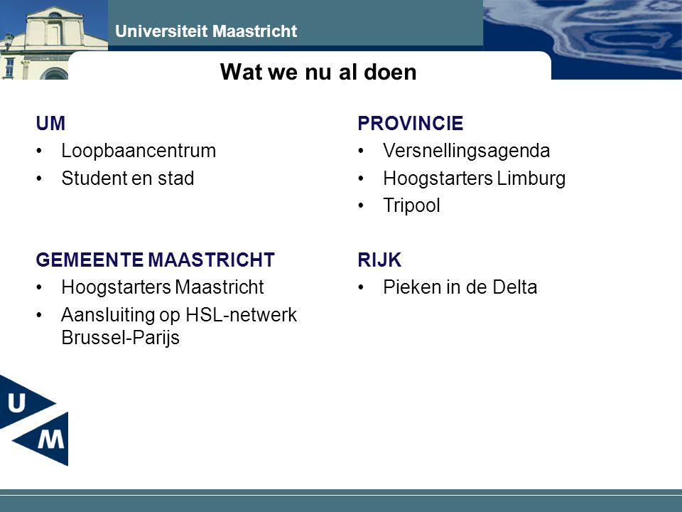 Universiteit Maastricht Wat we nu al doen UM •Loopbaancentrum •Student en stad GEMEENTE MAASTRICHT •Hoogstarters Maastricht •Aansluiting op HSL-netwerk Brussel-Parijs PROVINCIE •Versnellingsagenda •Hoogstarters Limburg •Tripool RIJK •Pieken in de Delta