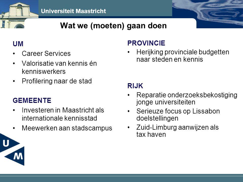 Universiteit Maastricht Wat we (moeten) gaan doen UM •Career Services •Valorisatie van kennis én kenniswerkers •Profilering naar de stad GEMEENTE •Investeren in Maastricht als internationale kennisstad •Meewerken aan stadscampus PROVINCIE •Herijking provinciale budgetten naar steden en kennis RIJK •Reparatie onderzoeksbekostiging jonge universiteiten •Serieuze focus op Lissabon doelstellingen •Zuid-Limburg aanwijzen als tax haven