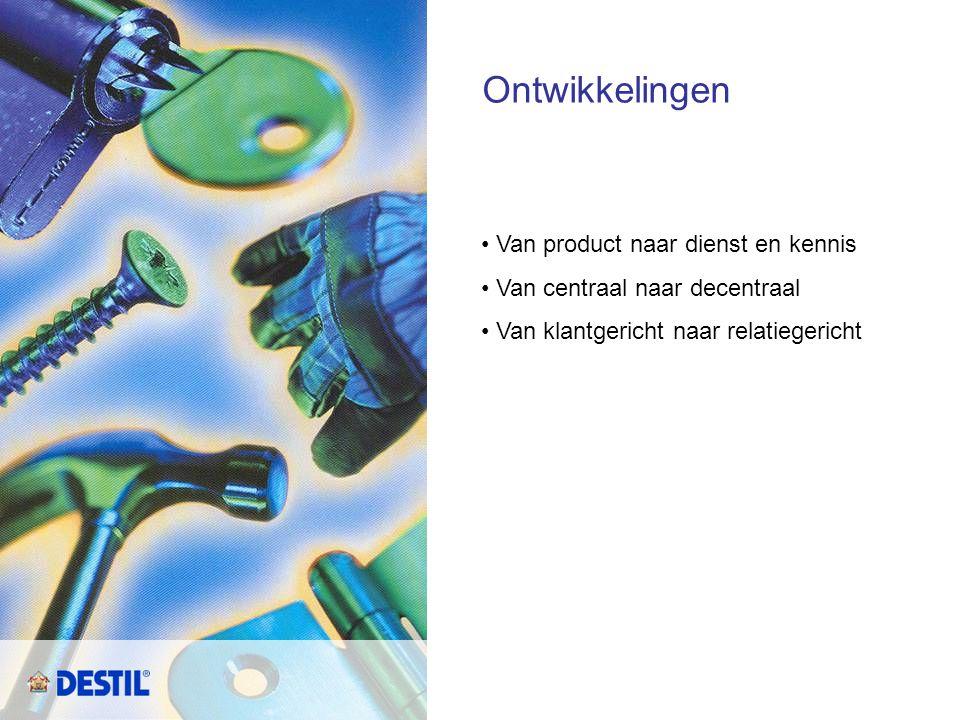 Ontwikkelingen • Van product naar dienst en kennis • Van centraal naar decentraal • Van klantgericht naar relatiegericht
