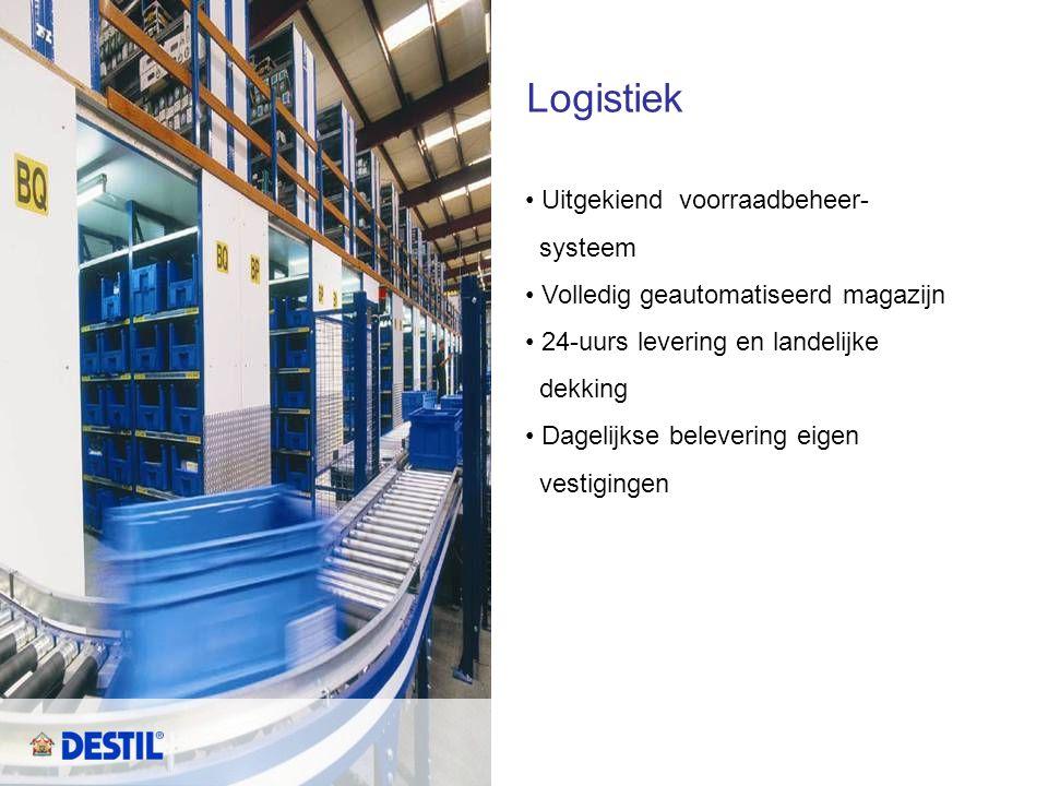 Logistiek • Uitgekiend voorraadbeheer- systeem • Volledig geautomatiseerd magazijn • 24-uurs levering en landelijke dekking • Dagelijkse belevering ei