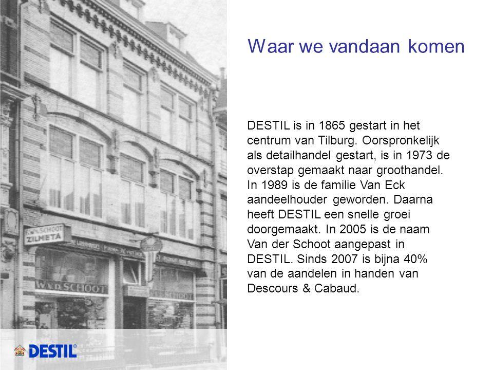 Waar we vandaan komen DESTIL is in 1865 gestart in het centrum van Tilburg. Oorspronkelijk als detailhandel gestart, is in 1973 de overstap gemaakt na