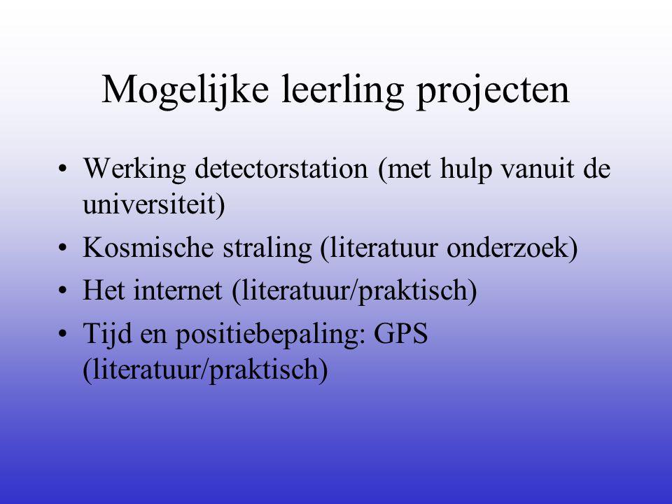 Mogelijke leerling projecten •Werking detectorstation (met hulp vanuit de universiteit) •Kosmische straling (literatuur onderzoek) •Het internet (literatuur/praktisch) •Tijd en positiebepaling: GPS (literatuur/praktisch)