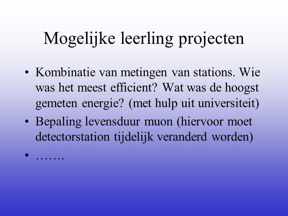 Mogelijke leerling projecten •Kombinatie van metingen van stations.