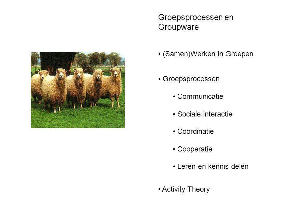 Groepsprocessen en Groupware • (Samen)Werken in Groepen • Groepsprocessen • Communicatie • Sociale interactie • Coordinatie • Cooperatie • Leren en ke