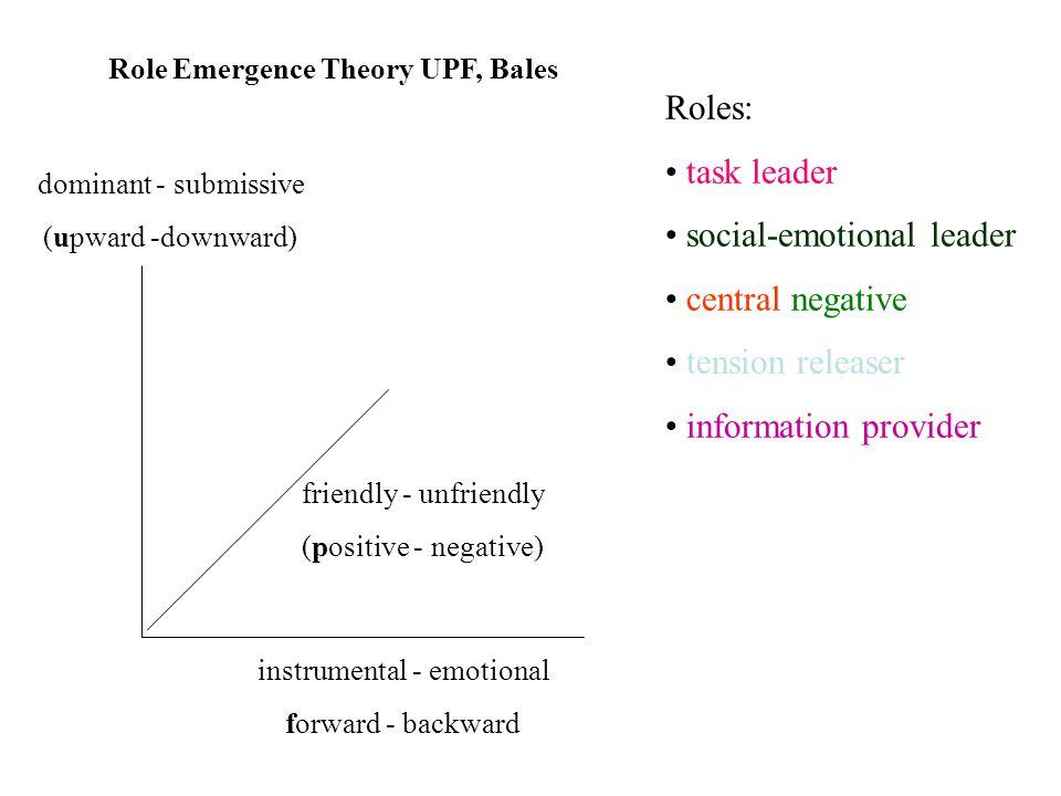 dominant - submissive (upward -downward) instrumental - emotional forward - backward friendly - unfriendly (positive - negative) Role Emergence Theory