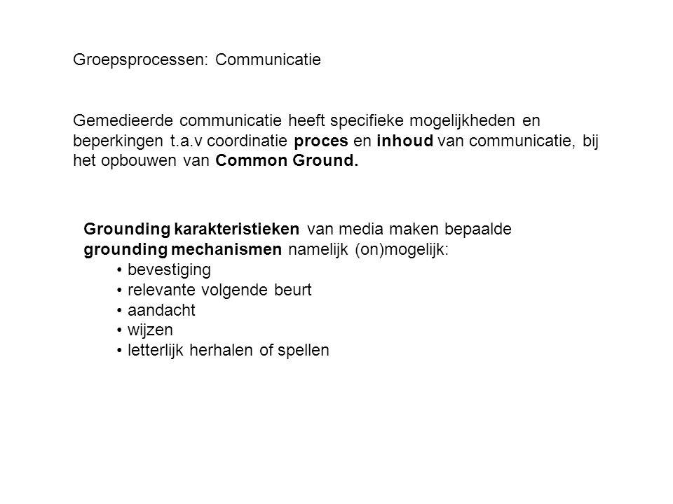 Groepsprocessen: Communicatie Gemedieerde communicatie heeft specifieke mogelijkheden en beperkingen t.a.v coordinatie proces en inhoud van communicat
