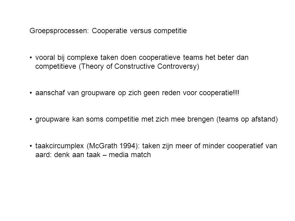 Groepsprocessen: Cooperatie versus competitie •vooral bij complexe taken doen cooperatieve teams het beter dan competitieve (Theory of Constructive Co