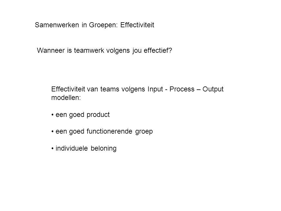 Samenwerken in Groepen: Effectiviteit Wanneer is teamwerk volgens jou effectief? Effectiviteit van teams volgens Input - Process – Output modellen: •