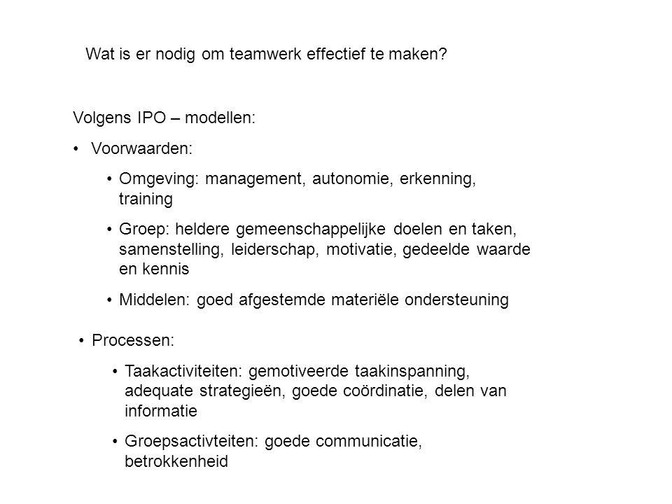 Wat is er nodig om teamwerk effectief te maken? Volgens IPO – modellen: • Voorwaarden: •Omgeving: management, autonomie, erkenning, training •Groep: h