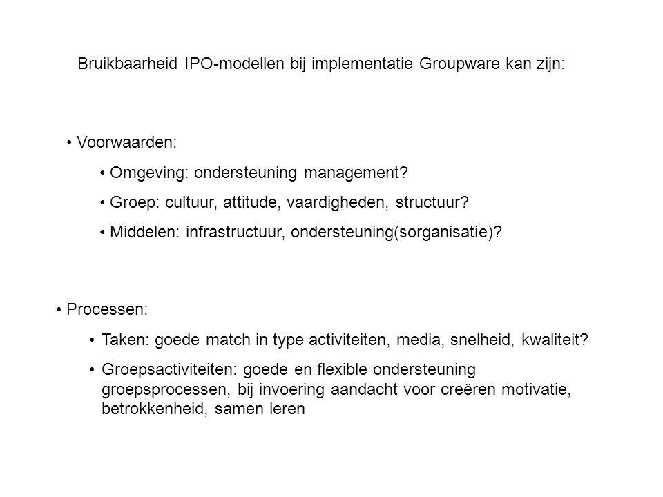 Categoriën van coordinatiemechanismen en Groupwareondersteuning CoordinatiemechanismeGroupware supervisiecommunicatie, informatie, cooperatie, coordinatie standaardisatie takenworkflow, informatie standaardisatie vaardigheden communicatie, informatie (training) standaardisatie outputinformatie, communicatie overlegcommunicatie, cooperatie, coordinatie standaardisatie normen en waarden communicatie, informatie, cooperatie, coordinatie, sociale ontmoetingen (CSS)
