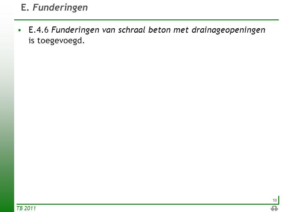10 TB 2011 E. Funderingen  E.4.6 Funderingen van schraal beton met drainageopeningen is toegevoegd.