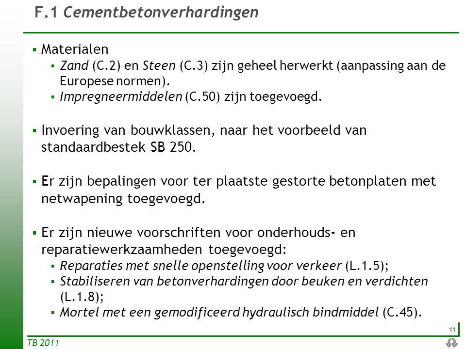 11 TB 2011 F.1 Cementbetonverhardingen  Materialen  Zand (C.2) en Steen (C.3) zijn geheel herwerkt (aanpassing aan de Europese normen).  Impregneer