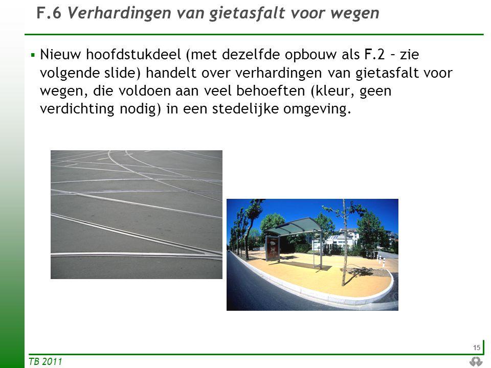 15 TB 2011  Nieuw hoofdstukdeel (met dezelfde opbouw als F.2 – zie volgende slide) handelt over verhardingen van gietasfalt voor wegen, die voldoen a