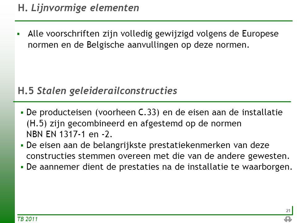 21 TB 2011 H. Lijnvormige elementen  De producteisen (voorheen C.33) en de eisen aan de installatie (H.5) zijn gecombineerd en afgestemd op de normen