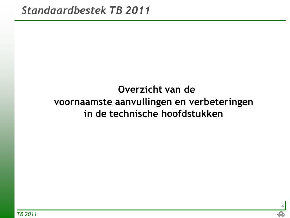 15 TB 2011  Nieuw hoofdstukdeel (met dezelfde opbouw als F.2 – zie volgende slide) handelt over verhardingen van gietasfalt voor wegen, die voldoen aan veel behoeften (kleur, geen verdichting nodig) in een stedelijke omgeving.