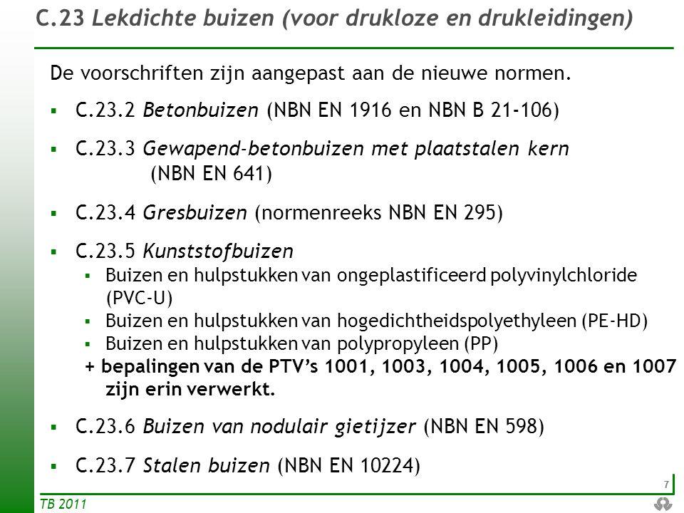 77 TB 2011 C.23 Lekdichte buizen (voor drukloze en drukleidingen) De voorschriften zijn aangepast aan de nieuwe normen.  C.23.2 Betonbuizen (NBN EN 1