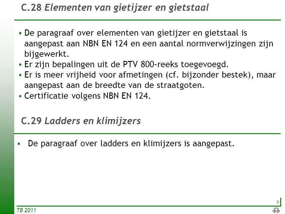 99 TB 2011 C.28 Elementen van gietijzer en gietstaal  De paragraaf over elementen van gietijzer en gietstaal is aangepast aan NBN EN 124 en een aanta