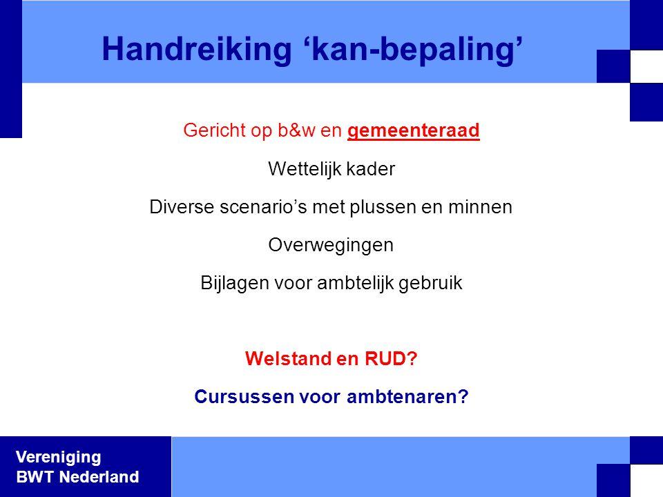 Vereniging BWT Nederland Gericht op b&w en gemeenteraad Wettelijk kader Diverse scenario's met plussen en minnen Overwegingen Bijlagen voor ambtelijk