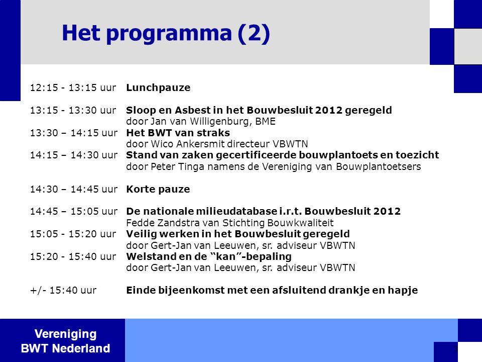 Vereniging BWT Nederland 3 Het programma (2) 12:15 - 13:15 uurLunchpauze 13:15 - 13:30 uurSloop en Asbest in het Bouwbesluit 2012 geregeld door Jan va