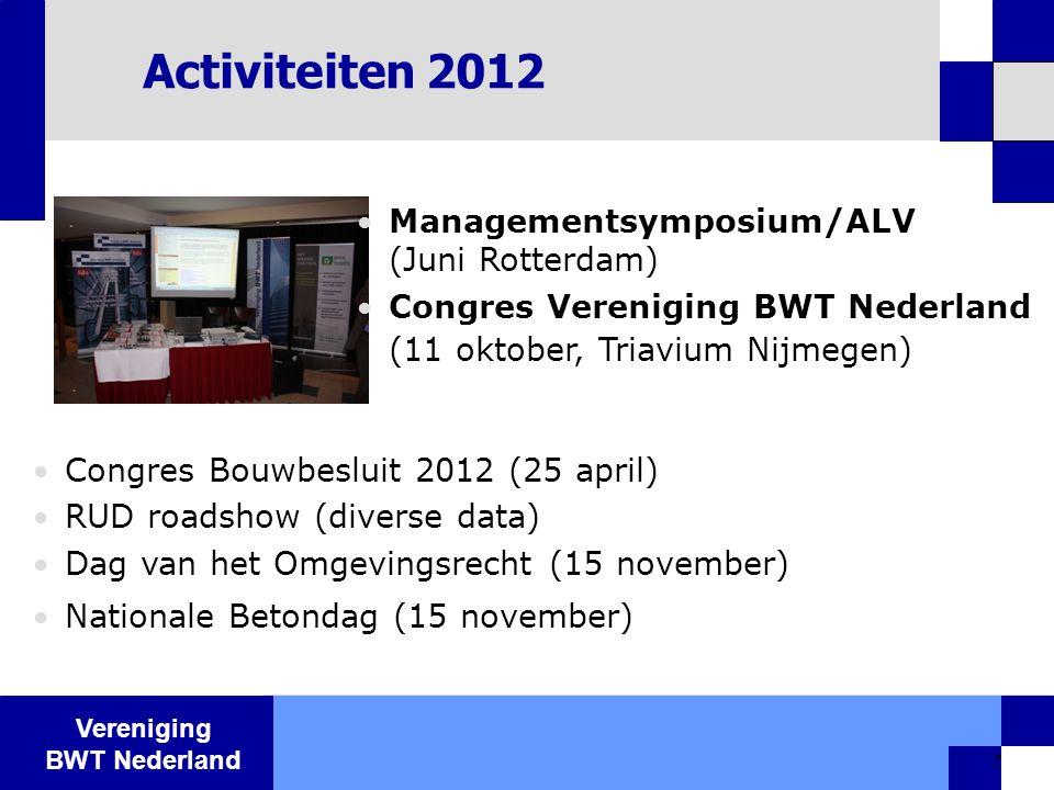 Vereniging BWT Nederland 7 Activiteiten 2012  Congres Bouwbesluit 2012 (25 april)  RUD roadshow (diverse data)  Dag van het Omgevingsrecht (15 nove