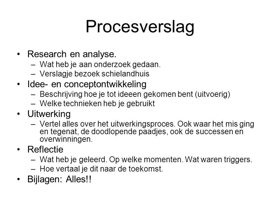 Procesverslag •Research en analyse.–Wat heb je aan onderzoek gedaan.
