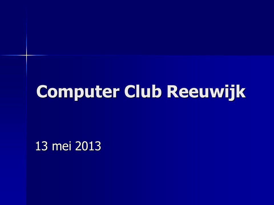 ComputerClub Reeuwijk mei 2013 Netwerkkabels  Voor een normale 100 Mbit aansluiting op het modem of de router zijn CAT5-kabels nodig (geen crosskabels, deze zijn alleen geschikt om twee PC s direct aan elkaar te koppelen, zonder tussenkomst van een router).