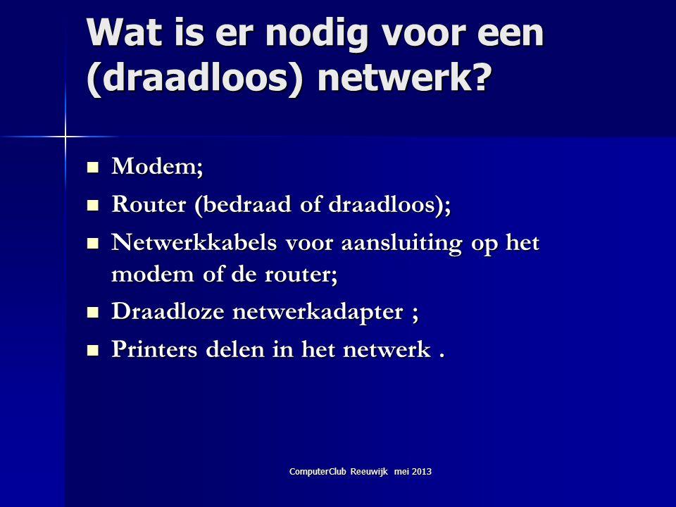 ComputerClub Reeuwijk mei 2013 Wat is er nodig voor een (draadloos) netwerk?  Modem;  Router (bedraad of draadloos);  Netwerkkabels voor aansluitin