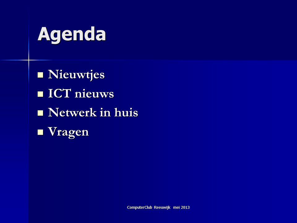 ComputerClub Reeuwijk mei 2013 Het netwerk instellen 6  Verbinding controleren en instellingen wijzigen  De status van de internetverbinding kan eenvoudig worden gecontroleerd via de linkEthernet (Windows 8)/LAN- verbinding (Windows 7/Vista) in het Netwerkcentrum).