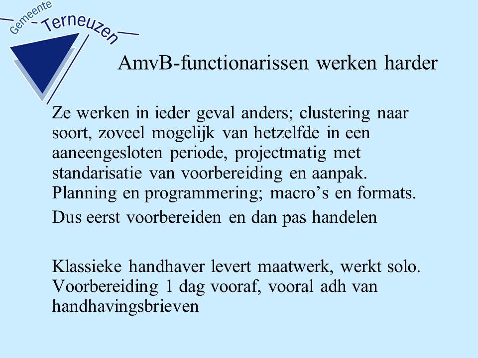 AmvB-functionarissen werken harder Ze werken in ieder geval anders; clustering naar soort, zoveel mogelijk van hetzelfde in een aaneengesloten periode