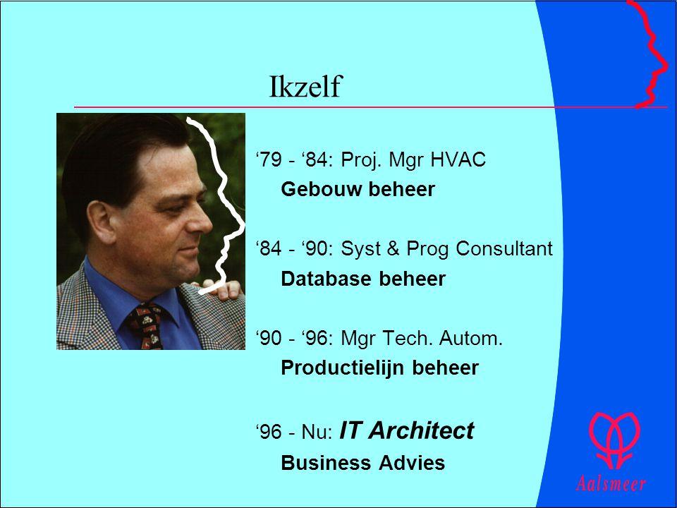 Ikzelf '79 - '84: Proj. Mgr HVAC Gebouw beheer '84 - '90: Syst & Prog Consultant Database beheer '90 - '96: Mgr Tech. Autom. Productielijn beheer '96