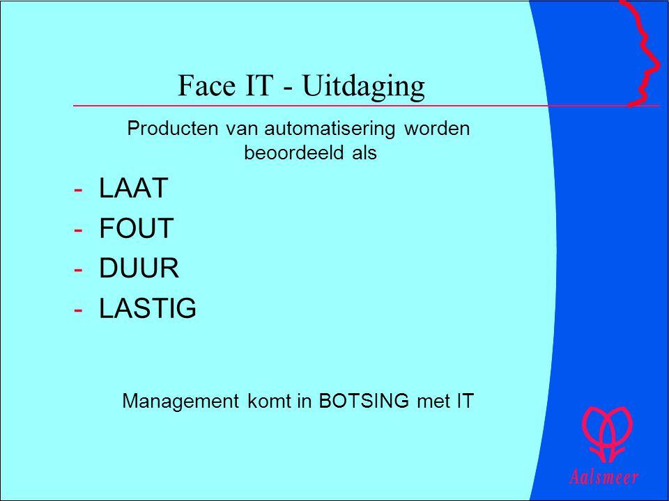 Face IT - Uitdaging Producten van automatisering worden beoordeeld als -LAAT -FOUT -DUUR -LASTIG Management komt in BOTSING met IT
