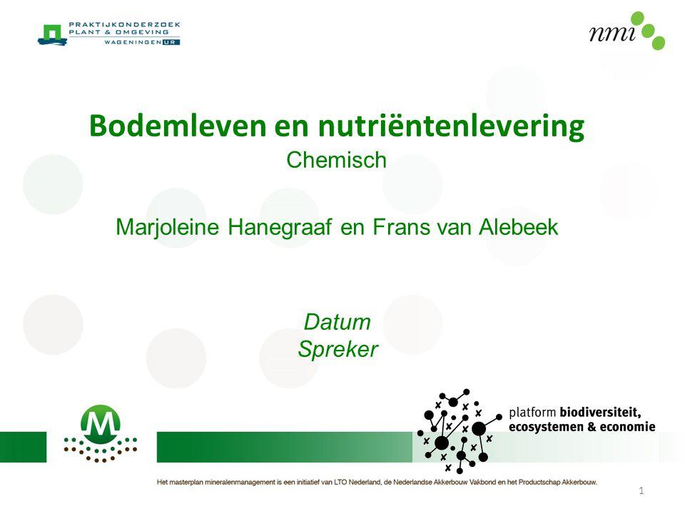 Bodemleven en nutriëntenlevering Chemisch Marjoleine Hanegraaf en Frans van Alebeek Datum Spreker 1