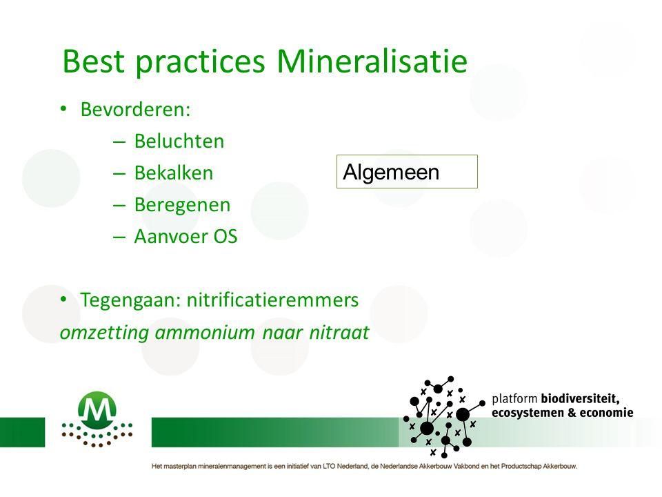 Best practices Mineralisatie • Bevorderen: – Beluchten – Bekalken – Beregenen – Aanvoer OS • Tegengaan: nitrificatieremmers omzetting ammonium naar nitraat Algemeen